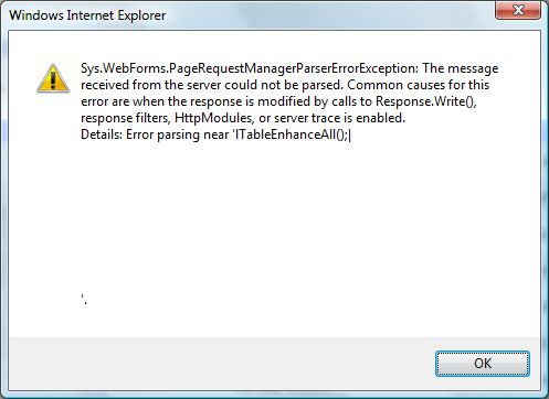 Sys.WebForms.PageRequestManagerParserErrorExeption